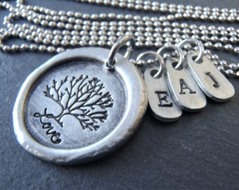 personalized family tree necklace with kids initials Mother's Day gift