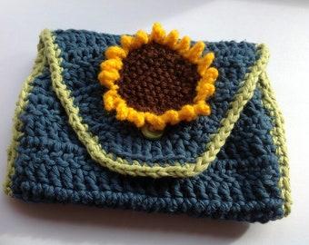 Blue sunflower crocheted lined purse