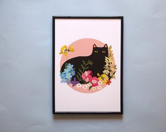A4 Black Cat with Flowers Print - Black Cat illustration - Cat Print - I like Cats - Black cat - Home decor - Cat art - Wall art - art - Cat