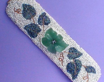 Beaded Carved Green Stone Flower Cuff Bracelet