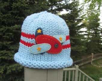 Knit Baby Hat, Baby Airplane Hat, Blue Baby Hat, Hand Knit Baby Hat, Baby Boy Hat, Baby Hat Photo Prop, Baby Photo Prop, Baby Hat, Baby Gift