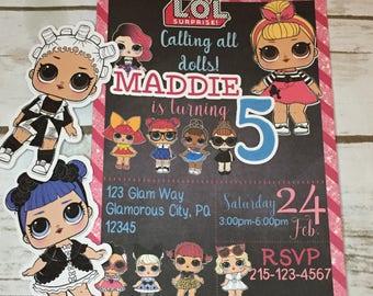 Personalized Printed LOL Dolls Invitation/LOL  Party Invitations/LOL  Dolls Invite