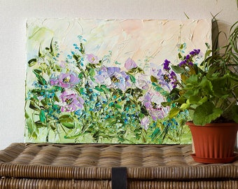 Peony Painting Peonies Wall Art Canvas Abstract Palette Knife Oil Painting Lilac Purple Flower Green Violet Rose Garden Forget Me Not Décor