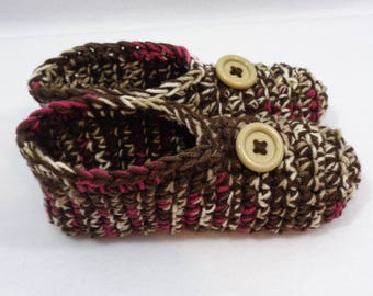 Crochet Slippers in Browns and Fuchsia with Buttons Size Medium, Womens Houseshoes ~Gift for Grandma ~Warm and Cozy Socks by Charlene