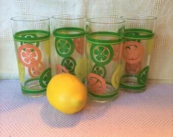 Mid Century Citrus Glassware Tumblers, Set/4
