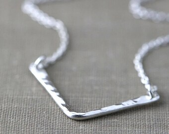 Sterling Silver Chevron Necklace, Gift for Women, Modern Minimal Hammered Silver Jewelry - Everyday Jewelry by Burnish