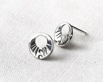 Aztec Moon Stud Earrings // Sterling Silver