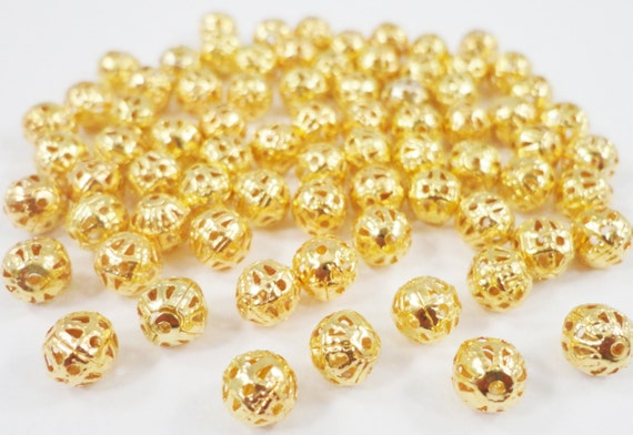 Gold Metal Beads 6mm Round Antique Gold Spacer Beads, Lightweight Hollow Filigree Beads, Ball Beads for Jewelry Making, 50 Loose Beads