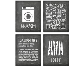 Laundry Room Wall Art - Four PRINTs - Laundry Symbols Wash Dry - Laundry Definition - Home Decor - Laundry Wall Decor - gift for mom