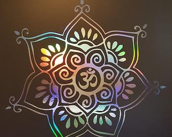 Om Delicate Flower Vinyl Decal | Laptop or Wall | Mandala Sacred Geometry | Geometric Yoga | Rainbow Holographic Sticker