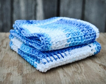 Crochet wash cloth, knit washcloth, blue and white, crochet body scrub, crocheted washcloth, cotton bath cloth, crochet bath cloth, set of 2