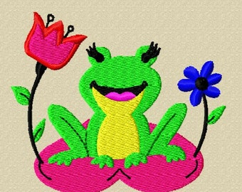 Cute Frog Embroidery Pattern