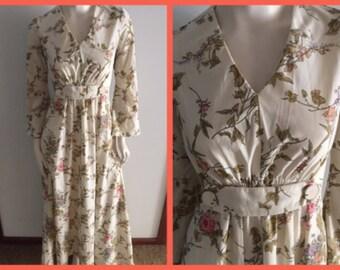 "Vintage 70s Cream Floral Print Long Bell Sleeve Maxi Hostess Dress by Arc.Medium.Bust 38"".Waist 31"""