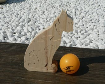 """The cat"" animal puzzle-cut wood"