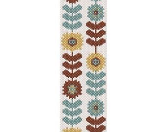 Retro Flowers Peyote Bead Pattern, Bracelet Cuff, Bookmark, Seed Beading Pattern Miyuki Delica Size 11 Beads - PDF Instant Download