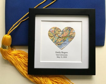 Graduation Map Gift- Customized Framed Map- 5x5 Frame - Latitude Longitude - College Gift - Gallery Wall Decor - University or High School