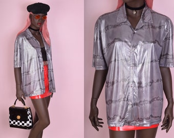 90s Metallic Striped Shirt/ Unisex Large/ 1990s/ Short Sleeve/ Button Down