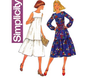 Simplicity 8066 Womens Tent Dress or Sundress with Flounced Hem 1970s Vintage Sewing Pattern Size 10 Bust 32 1/2 Inches