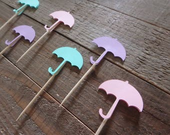 12 Umbrella Cupcake Toppers, Umbrella Cake Toppers, Gender Reveal Cake Toppers, Gender Reveal Party, Umbrella Baby Shower , Party Supplies