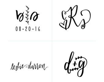 monogram design for weddings // wedding logo lettering, calligraphy, illustration // custom handwritten bride and groom names