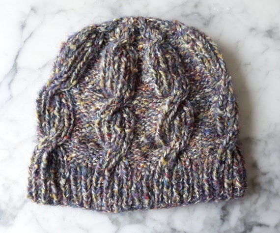 Cable knit beanie: Aran beanie in brushed cotton mix yarn. Made in Ireland. Original design. Men's beanie. Women's beanie. Unique hat.