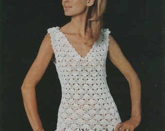 Vintage Crochet Dress and Corsage Pattern PDF 441 from WonkyZebra