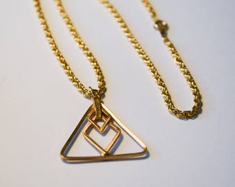 Modern Triangle Necklace, Vintage Gold Tone Rope Chain