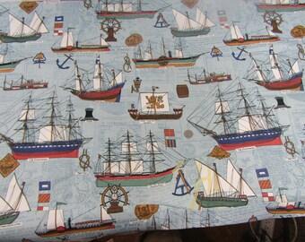 1.5 yards vintage drapery fabric nautical theme sailing ships