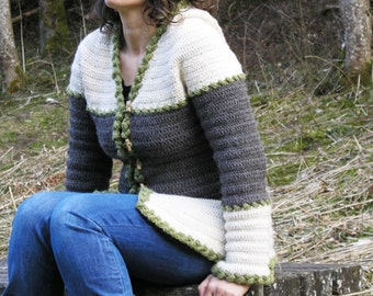 Léontine  - Crochet pattern for ladies hooded jacket size XS to XL