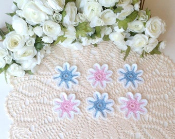 6 Lacy Fantasy Flowers - 3 inch or 7 1/2 cm