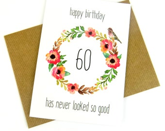 60th Birthday Card For Her, Pretty Floral Birthday Card