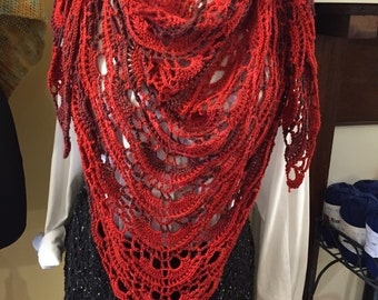 Red Yes, Yes Shawl