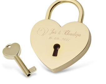 Engraved heart lock (front side)