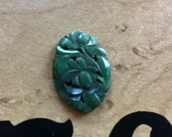 Vintage Hand Sawed and Pierced Floral Jade