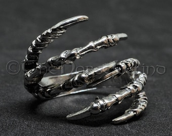 Raven Claw Ring, Gothic Crow Ring Adjustable Odin's Ravens Tibetan Silver Hugin and Munin Ravens, Gothic Ring, Viking Jewelry
