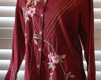 Woman blouse bead embellished