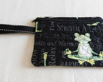 Yoga (frog) themed wristlet, Yoga purse, Yoga gift