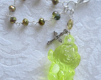Yellow Happy Lion Anglican Rosary Charm