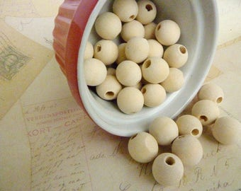 Round Wood Beads - Natural - 16mm - Pack of 100 WHOLESALE