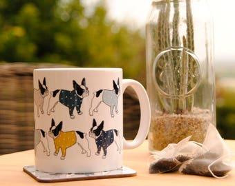 Coffee Mug French Bulldog ceramic coffee cup, Frenchie Bouledogue Francais Coffee Mug, French bulldog gift  Dog mug coaster fathers day gift