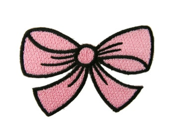Pink Bow Embroidered Applique Iron on Patch