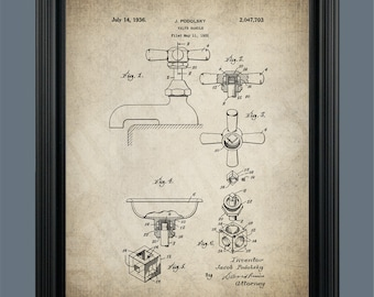 Bathroom Faucet Patent Print - Victorian Faucet - Vintage Bathroom Decor - Victorian Art - Vintage Faucet - Plumber Gift Bathroom Art - #089