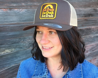 SoDak South Dakota Trucker Cap - Retro Camping South Dakota Snapback Trucker Hat - SoDak Cap by Oh Geez! Design