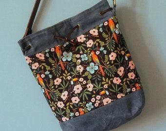 The Diva Crossbody Tote Bag, Waxed Canvas, Canadian Made, 1867Shop, Handmade, Slimline Bucket Bag,