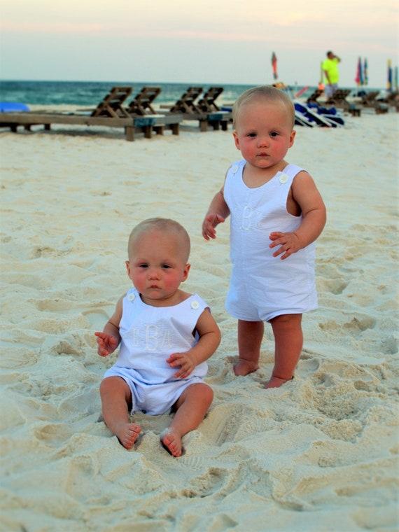 Baby Boy Blue Seersucker Jon Jon, Monogram included, Perfect Summer Outfit for Boys