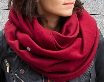CHUNKY Infinity Scarf, winter infinity scarf, BURGUNDY cotton jersey sweatshirt infinity scarf, tube scarf, hooded scarf, snood, gift idea