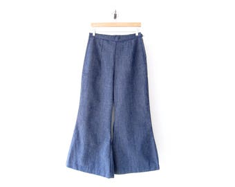 50% of Proceeds go to Planned Parenthood! Vintage Wide-Leg, High-Waisted Chambray Bellbottoms, 60's Denim, Handmade Women's Jeans, 29 Waist