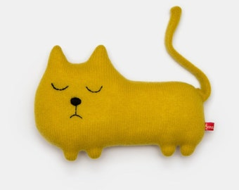 Colin the Cat Knitted Animal Lambswool Soft Toy Plush - Made to order