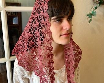 Fan Shell Stitch Crocheted Chapel Veil in Tea Rose