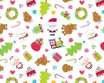 SALE Christmas Flannel fabric ~ Santa Express ~  Doodlebug Designs for Riley Blake ~ Christmas Flannel by the Yard